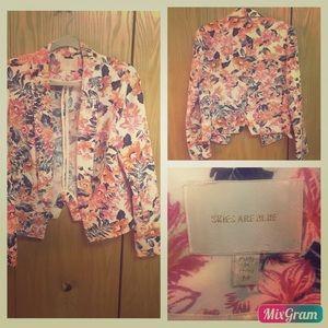 Skies Are Blue Pink Floral Blazer Jacket Size M